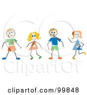Royalty Free RF Clipart Illustration Of Muddy Stick Children