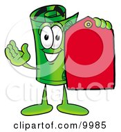 Clipart Picture Of A Rolled Money Mascot Cartoon Character Holding A Red Sales Price Tag