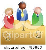 Royalty Free RF Clipart Illustration Of A Business Team On Podiums by Prawny