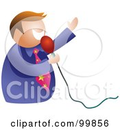 Royalty Free RF Clipart Illustration Of A Businessman Using A Microphone