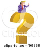 Royalty Free RF Clipart Illustration Of A Businessman On A Giant Question Mark by Prawny