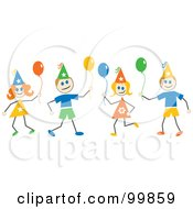 Royalty Free RF Clipart Illustration Of Stick Children With Party Hats And Balloons by Prawny