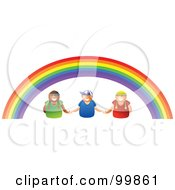Three Kids Holding Hands Under A Rainbow