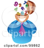Royalty Free RF Clipart Illustration Of A Businessman With A Number Brain by Prawny