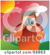 Royalty Free RF Clipart Illustration Of A Man Taking Pictures Outdoors Under The Sun by Prawny