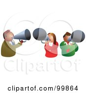 Royalty Free RF Clipart Illustration Of A Business Team Using Megaphones