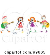 Royalty Free RF Clipart Illustration Of Musical Stick Children by Prawny