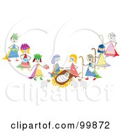 Royalty Free RF Clipart Illustration Of Stick Children Acting Out The Nativity Scene by Prawny