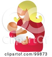 Royalty Free RF Clipart Illustration Of A Happy White Mom Holding Her Infant Child