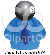 Royalty Free RF Clipart Illustration Of A Businessman With An Eight Ball Face by Prawny