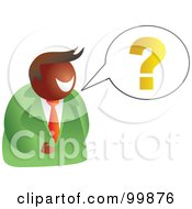 Royalty Free RF Clipart Illustration Of A Businessman Asking A Question by Prawny