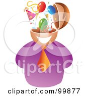 Royalty Free RF Clipart Illustration Of A Businessman With A Party Brain by Prawny