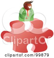Poster, Art Print Of Businessman On A Red Puzzle Piece
