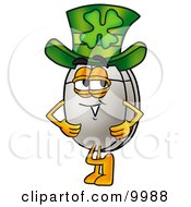 Computer Mouse Mascot Cartoon Character Wearing A Saint Patricks Day Hat With A Clover On It