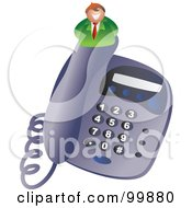 Royalty Free RF Clipart Illustration Of A Businessman On A Desk Phone