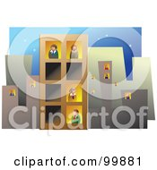 Royalty Free RF Clipart Illustration Of A Busy Office Block With People In The Windows by Prawny