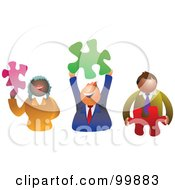 Poster, Art Print Of Business Team Holding Puzzle Pieces
