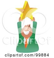 Royalty Free RF Clipart Illustration Of A Businessman Holding Up A Gold Star