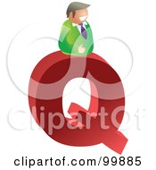 Royalty Free RF Clipart Illustration Of A Businessman With A Large Letter Q