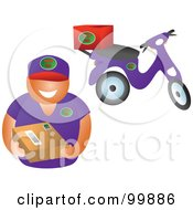 Royalty Free RF Clipart Illustration Of A Delivery Man Holding A Package By His Scooter by Prawny