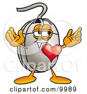 Computer Mouse Mascot Cartoon Character With His Heart Beating Out Of His Chest