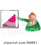 Royalty Free RF Clipart Illustration Of A Businessman Discussing A Bar Graph