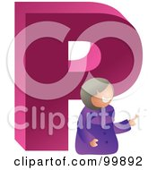 Royalty Free RF Clipart Illustration Of A Woman With A Large Letter P
