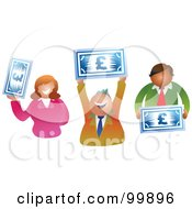 Royalty Free RF Clipart Illustration Of A Business Team Holding Euro Banknotes
