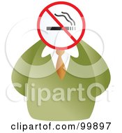 Businessman With A No Smoking Sign Face
