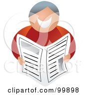 Royalty Free RF Clipart Illustration Of A Happy Man Holding A Newspaper