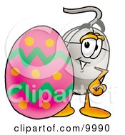 Clipart Picture Of A Computer Mouse Mascot Cartoon Character Standing Beside An Easter Egg