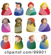 Royalty Free RF Clipart Illustration Of A Digital Collage Of Faceless People Avatars by Prawny