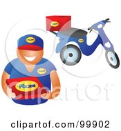 Royalty Free RF Clipart Illustration Of A Pizza Delivery Boy Holding A Box His Scooter In The Background by Prawny