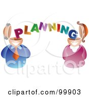 Royalty Free RF Clipart Illustration Of A Businses Man And Woman With Planning Brains by Prawny