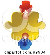 Royalty Free RF Clipart Illustration Of A Business Woman And Man In A Puzzle Piece by Prawny