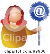 Royalty Free RF Clipart Illustration Of A Businesswoman Holding An At Sign
