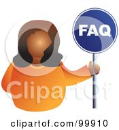 Royalty Free RF Clipart Illustration Of A Businesswoman Holding A FAQ Sign