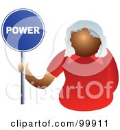 Royalty Free RF Clipart Illustration Of A Businesswoman Holding A Power Sign