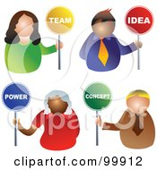 Digital Collage Of Business Men And Women Holding Team Idea Power And Concept Signs