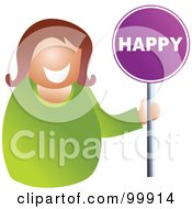Royalty Free RF Clipart Illustration Of A Businesswoman Holding A Happy Sign