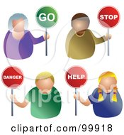 Royalty Free RF Clipart Illustration Of A Digital Collage Of Business Men And Women Holding Go Stop Danger And Help Signs by Prawny