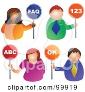 Royalty Free RF Clipart Illustration Of A Digital Collage Of Business Men And Women Holding Faq 123 Abc And Ok Signs by Prawny