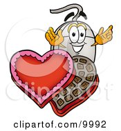 Clipart Picture Of A Computer Mouse Mascot Cartoon Character With An Open Box Of Valentines Day Chocolate Candies
