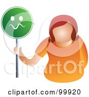 Royalty Free RF Clipart Illustration Of A Businesswoman Holding A Nervous Sign
