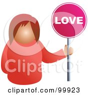 Royalty Free RF Clipart Illustration Of A Businesswoman Holding A Love Sign