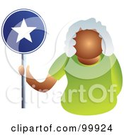 Royalty Free RF Clipart Illustration Of A Businesswoman Holding A Star Sign