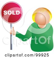 Royalty Free RF Clipart Illustration Of A Businesswoman Holding A Sold Sign