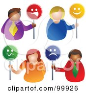 Royalty Free RF Clipart Illustration Of A Digital Collage Of Business Men And Women Holding Face Signs