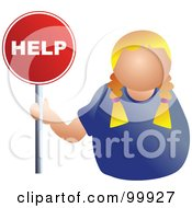 Royalty Free RF Clipart Illustration Of A Businesswoman Holding A Help Sign