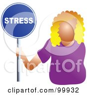 Royalty Free RF Clipart Illustration Of A Businesswoman Holding A Stress Sign